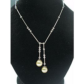 Fine South Sea Pearls Diamond 14Kt White Gold Drop Necklace 10.6-11mm 2.00Ct
