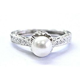 Fine South Sea Pearl & Diamond White Gold Milgrain Ring 0.20Ct 6mm 14KT