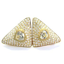 SPADE SHAPE Diamond NATURAL Fancy Light Yellow Diamond Stud Earrings 9.70Ct 18KT
