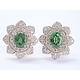 Tsavorite & Diamond Ring & Earrings Gem Clarity 18Kt Yellow Gold 13.56Ct E-F/VVS