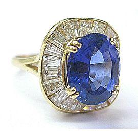 Oval Tanzanite & Diamond Ballerina Ring Solid 18Kt Yellow Gold AAAA/VS 6.75Ct