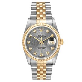 Rolex Datejust Steel Yellow Gold Jubilee Diamond Dial Watch 16233