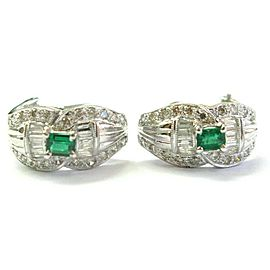 Green Emerald & Diamond Huggie Earrings 18Kt White Gold 1.50Ct FVVS2 17.5MM