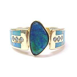 Fine Multi-Colored Boulder Opal Diamond Designer Jewelry Ring 14KT