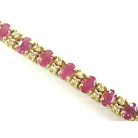 """Natural Oval Ruby & Diamond Yellow Gold Tennis Bracelet 14KT 7"""" 10.00Ct"""