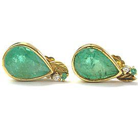 Colombian Green Emerald & Diamond Pear Shape Drop Earrings 6.31Ct 18kt YG