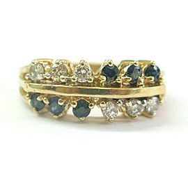 Sapphire & Diamond Two Row Ring Solid 14Kt Yellow Gold 1.10Ct SIZEABLE