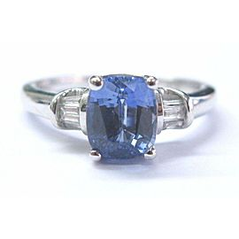 Cushion Tanzanite & Diamond Ring Solid 14Kt White Gold SIZEABLE 1.77Ct AAA-VS