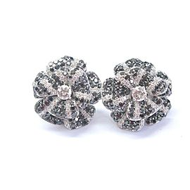 Flower Multi Color Diamond Earrings Solid 14Kt White Gold G-VS1 3.16Ct