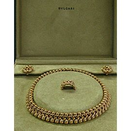 Bulgari Rose Gold Diamond Jewelry Set Necklace/Earrings/Ring 7.00Ct 18Kt