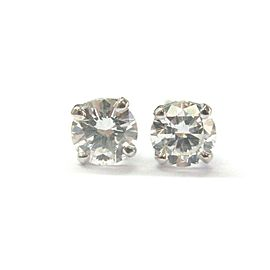 Natural Round Brilliant Diamond White Gold Stud Earrings 14KT .75Ct
