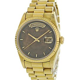 Rolex Day-Date President 18238 Wood Dial 18k Yellow Gold Mens Watch