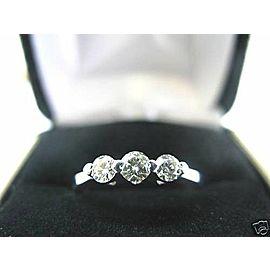 Fine Three Stone Round Diamond Solid White Gold Band Ring 14KT 0.45Ct