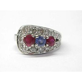 Fine Ruby Sapphire & Diamond White Gold Jewelry Ring 18Kt 1.10CT