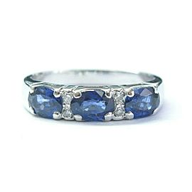 Three Stone Oval Sapphire Diamond White Gold Anniversary Band Ring 14KT 1.24Ct