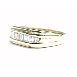 Baguette Diamond Invisible Set Solid Yellow Gold Band Ring .65Ct F-VS1 10-Stones