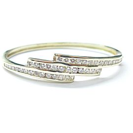 Round Cut NATURAL Diamond 3-Row SOLID Yellow Gold Bangle 44-Stones 14Kt 3.50Ct
