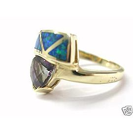 Natural Trillion Cut Tanzanite & Opal Diamond Yellow Gold Ring 14Kt 1.86Ct