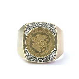 Fine 22Kt Coin Diamond Yellow Gold Jewelry 14Kt Ring .12CT