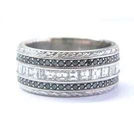 Fine Asscher Cut & Black Diamond WIDE White Gold Eternity Band Ring 3.24Ct 14KT