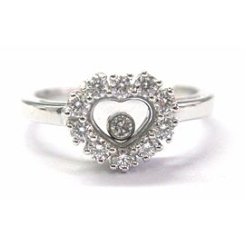 Chopard Happy Diamond Heart Ring White Gold 18Kt .39CT