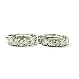 14Kt Natural Round Diamond White Gold Hoop Earrings 10-Stones 1.00Ct 15.5mm