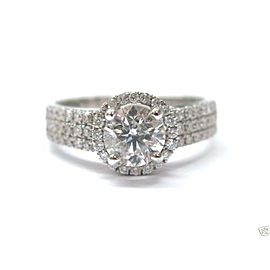 Fine Round Cut Diamond White Gold Engagement Ring 1.40CT 18KT
