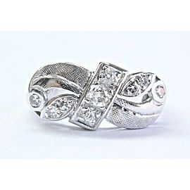 18Kt Vintage Old Mine Cut NATURAL Diamond White Gold Bow Style Ring .35Ct