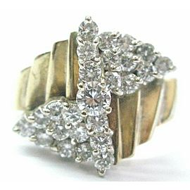 Natural Round Diamond Cluster Solid Yellow Gold Jewelry Ring 14KT 1.00Ct G-VS