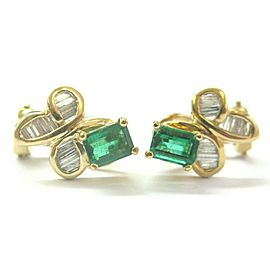 Green Emerald & Diamond Huggie Earrings 18Kt Solid Yellow Gold 2.00Ct FVVS2 15MM