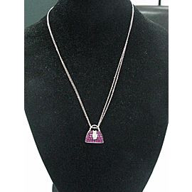 "Mirabelle 18Kt Pink Sapphire Diamond WG Purse Pendant Necklace 18"" 1.03Ct"