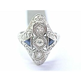 Vintage 18Kt Old European Cut Diamond & Gem Blue Sapphire White Gold Ring .38Ct