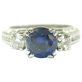 Platinum Natural Tanzanite & Diamond Milgrain Three-Stone Ring 3.70Ct AAAA/VS