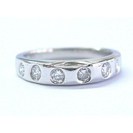 Platinum 6-Stone Round Cut Diamond Band Ring PT950 .30Ct