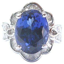 Oval Tanzanite & Diamond Ring Anniversary Solid White Gold 18Kt 8.10Ct AAAA/VS