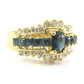 Blue Sapphire & Diamond Ring Emerald Cut Center 14Kt Yellow Gold 1.90Ct SIZEABLE