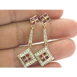 Fine Gem Ruby & Diamond Dangling Yellow Gold Earrings 2.44Ct