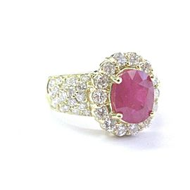 18Kt NATURAL Ruby & Diamond SOLID Yellow Gold Anniversary Jewelry Ring 4.12Ct