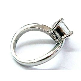 Damiani NATURAL Princess Cut Diamond Platinum Solitaire Ring 1.63CT G-VS2