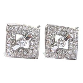 Fine Round Brilliant Diamond Tension & Pave Setting Square Huggie Earrings 1.00C