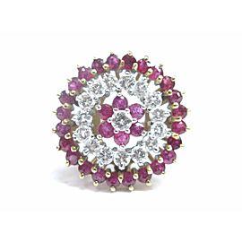Fine Gem Ruby Diamond Circular Cluster Yellow Gold Jewelry Ring 1.60CT