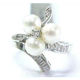 Fine Pearl Multi Shape Diamond White Gold Jewelry Ring 5.9mm .25CT