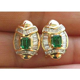 Green Emerald & Diamond Huggie Earrings Solid Yellow Gold 1.95Ct FVVS2 15.5MM