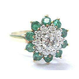 Circular Diamond & Colombian Green Emerald Yellow Gold Double Halo Ring 1.13CT