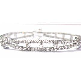Platinum NATURAL Diamond 2-Row TENNIS Bracelet PT950 6.26Ct