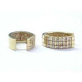 18Kt Round Cut Diamond Bar Setting Yellow Gold Huggie Earrings .75Ct