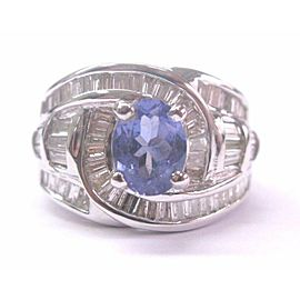 18KT NATURAL Gem Tanzanite & Baguette Diamond Anniversary Ring White Gold 2.84CT