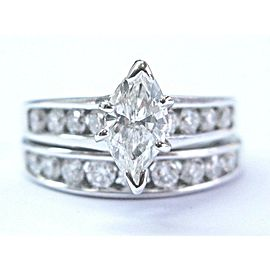 Marquise & Round NATURAL Diamond Engagement White Gold Wedding Set 2.50Ct 14KT