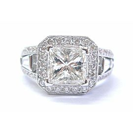 SOLID 18KT Natural Princess Cut & Fancy Pink Diamond Engagement Ring EGLUSA