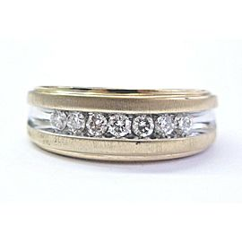 Men's Two-Tone Round Cut Diamond Channel Set Wedding Band .70Ct Size 10.5 14Kt